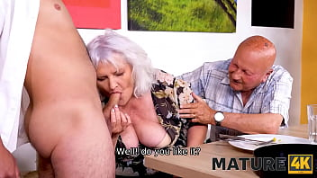 MATURE4K. Hey, waiter! A coffee for me and a firm cock for my mature wife!
