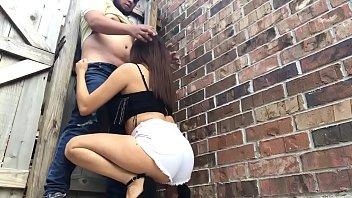 Slutty Teen Gives a Blowjob in Public