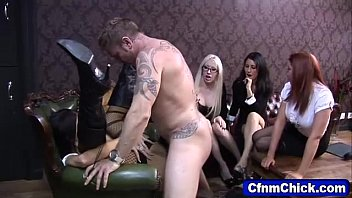 Cumshot for young CFNM British babe from naked man