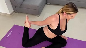 Milf doing yoga in quarantine is seduced and fucked by her son
