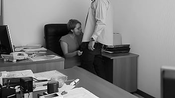 The boss fucks his employer at the office table and films it on hidden cam 10 min