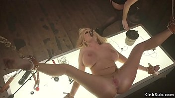 Blonde lesbian slave gets whipped