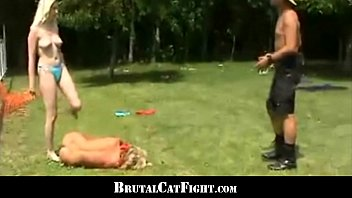Naked guys fighting turns into more Girls friendship finishes with a wild catfight and threesome
