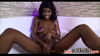 Kandi channel x porn star Wow hot black ebony teen kandie monaee oiled up and fucked by big white cock during casting pov