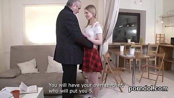 Senior having sex - Lovely schoolgirl is tempted and plowed by senior schoolteacher