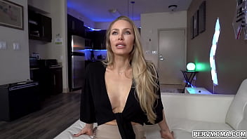 Lucky stud getting a deepthroat blowjob from his hot stepmom
