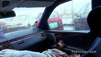 Image: Hairy pussy Russian babe fucks in the car in public