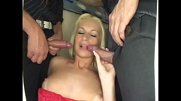 Three bi guys fuck each other and one gorgeous blonde blowjob slut