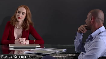 RoccoSiffredi Hot Redhead Gets The Threesome Of Her Life With Cumshot