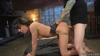 Tied slave gets all holes banged