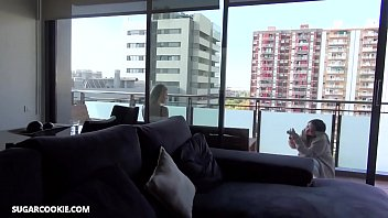 Blonde teen yoga instructor gives POV Blowjob on the balcony