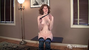 Slim Redhead Staci Plays With Her Knife
