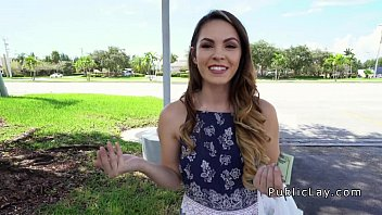 Hot brunette student bangs in public restroom