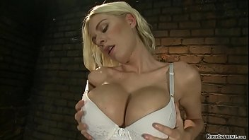 Oiled big tits blonde machine fucked
