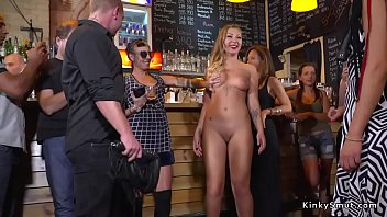 Gagged bare tits and ass blonde in public