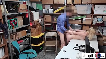 Dirty blonde seduced a new LP officer to took her pussy