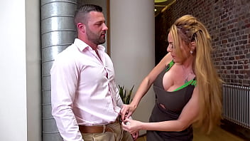 Dick hungry busty British babe Stacey Saran with cock between her tits