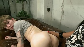 Shemale banker rides clients cock