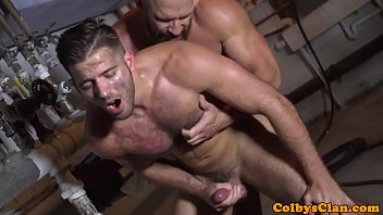 Masculine gay Muscle dilf rims hunk before cummy assfucking