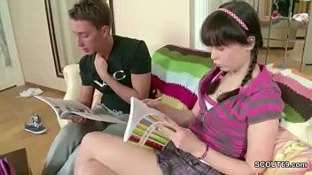 Virgin teenager Sis want to lost virgin and big cock step-bro helps her