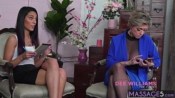 Brunette MILF massage a big ass mature in front of babe