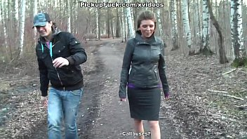 Titted brunette fuck in the woods 7 min