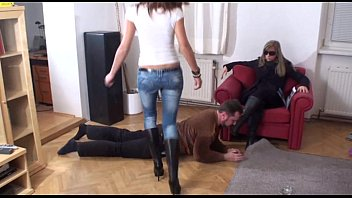 Kicking femdom with boots