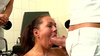 MILF babe Curly Ann gets inspected by a giant cock