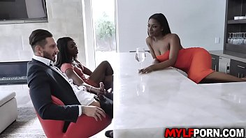 Sexy ebony MILF Ana Foxxx met her dauther Evi Reis boyfriend Quinton James. She likes him and ask her dauther if they could share his cock in a 3some. 8 min