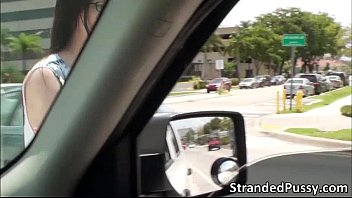 Damn sexy teen Tali gets fucked in the car by the strangers massive dick