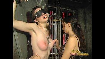 Foxy tattooed bimbo likes being spanked really hard by her dominatrix 16 min