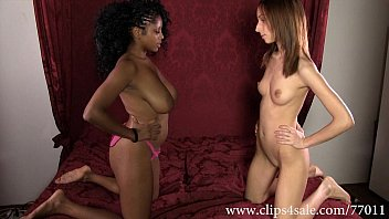 Xxx black and white lesbian - Df027-black vs white facesitting and strap on wrestling