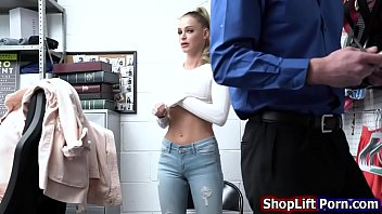 Shoplifting blonde is fucked for freedom