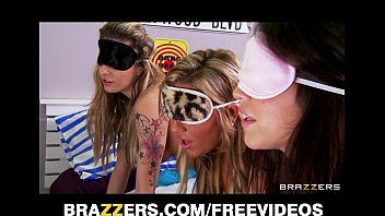 Three big booty teens are blindfolded and fucked in an orgy