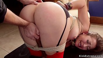 Master fucks two slaves in bondage