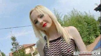 All Internal cute blonde gothic girl gets creampie
