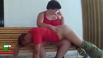 Spanking and food of pussy on a bench in the street ADR0602