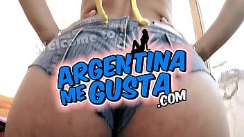 Big Bubble Butt Latina Babe Has Huge Nipples and Areolas in Tight Denim Shorts