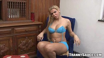 Tranny shemale strip Sexy blonde tranny hottie stripping and jerking off