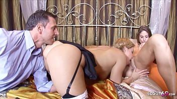 HUSBAND CATCH WIFE LESBO WITH MAID AND JOIN IN FFM THREESOME
