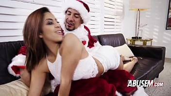 Santa Claus Has A Rough Present For This Naughty Brunette