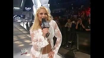 Trish Stratus walking out in white lingerie thumbnail