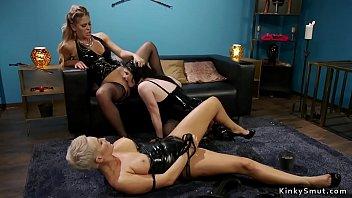Milf mistress dominates her new sex toys