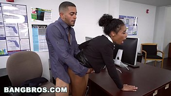 BANGBROS - Big Tits Ebony Babe Ivy Young Gets Ahead Porno Fucking Office