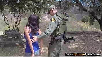 Stupid Border Jumper Gives Blowjob Outdoors To Agent