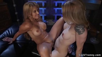 Transvestites corset Tanned big tits blonde gets trannys dick