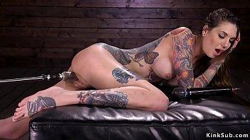 Erotic men tattoos - Busty alt brunette banging machine