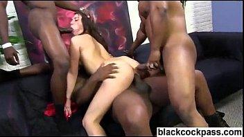 White girl ass fucked while sucking black cocks
