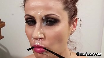 Wicked idol gets cum shot on her face sucking all the juice
