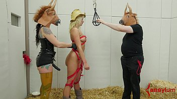 Blonde cries getting ass fucked Layla price gets brutal painal fuck from sick bitch dressed as bull